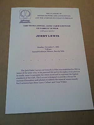 JERRY LEWIS - 3rd Annual JACK OAKIE LECTURE ON COMEDY PROGRAM - Nov 5,1984 -Mint