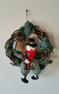 Christmas Wreath With A Sitting Snowman W/Tags