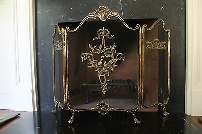 Vintage Antique  French Rococo Brass Tri-fold Fireplace Screen