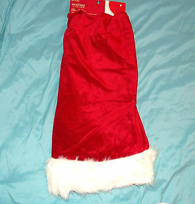 """New ~ 56"""" Christmas Tree Skirt Red W/ White Faux Fur Trim Fully Lined"""