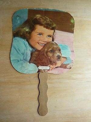 "Vintage Paper Advertising Hand Fan Knoxville, TN Funeral Home ""Girl and Puppy"""