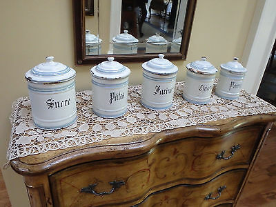 Antique Set Of 5 French Blue Enamelware Graniteware Canisters