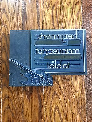 Large Vintage Letterpress Printer's Block, Manuscript, Letterpress Metal Type