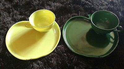 Lot Of 2 Hazel Atlas Green Apple Orchard Snack Sets Light And Dark Cup & Plate