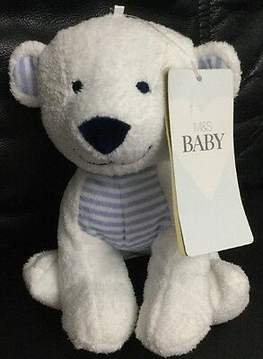 """Marks And Spencer M&s Polar Bear Teddy Comforter Soft 8"""" Toy Cuddly White"""