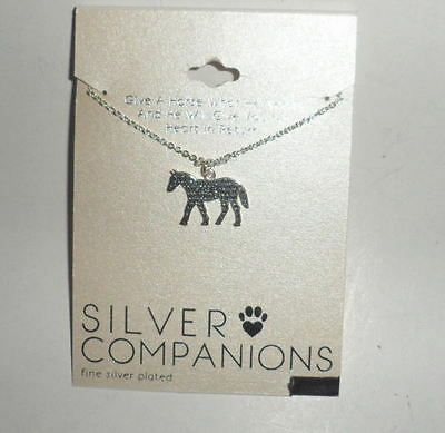 New On Card Fine Silver Plated Horse Pendant Necklace Free Shipping