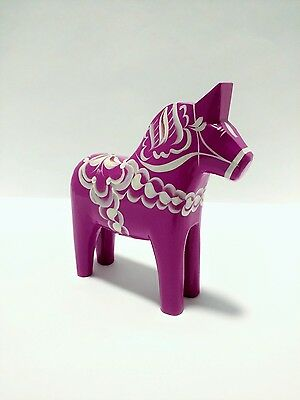 "5"" Bright Violet Swedish Dala Horse Folk Art Carving by Grannas A. Olssons"