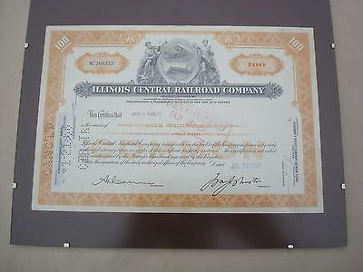 Illinois Central Railroad Company Stock Certificate 1963 Orange