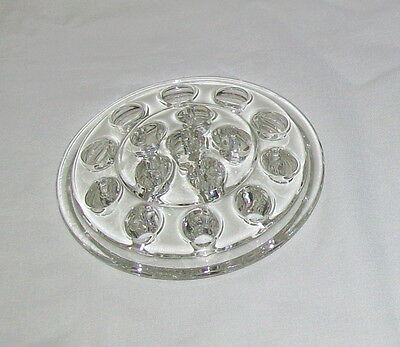 EAPC Glass FLOWER FROG 5 In. Fits Cake Stand/Vase Anchor Hocking Star of David