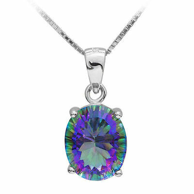 17 mm 3.5ct Genuine Mystic Blue Topaz Pendant 925 Silver with chain luxury