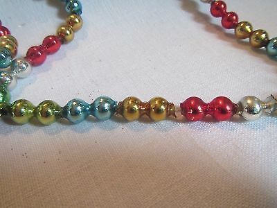 """Vintage 6' (61"""") Multi-Colored Mercury Glass Double Bead Christmas Garland"""