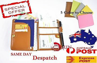 Travel Wallet Passport Holder Ticket Organizer Case Cover Pouch Faux Leather