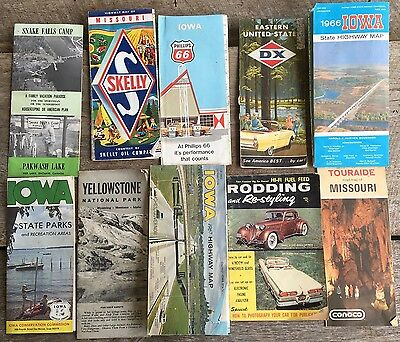 1960 Maps Hot Rod Magazine Skelly Oil Phillips DX Conoco State Park Iowa 10 Pcs.