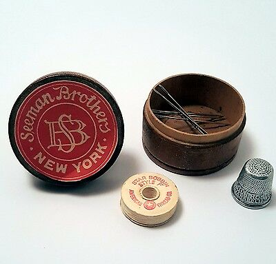 Antique Vintage Advertising Wooden Sewing Kit Box. SEEMAN BROTHERS NEW YORK
