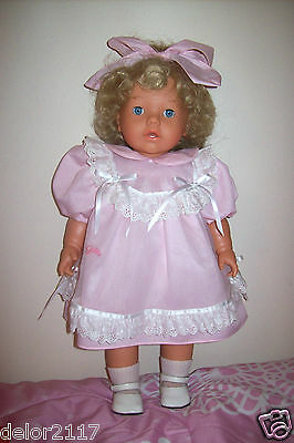 """Germany Gotz 18"""" Collectible Girl Doll Lmt Ed Pink Dress Cloth Vinyl Signed New"""