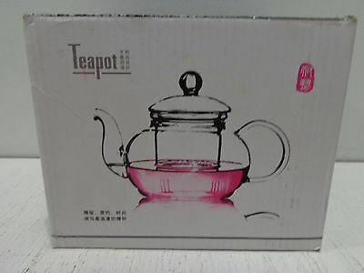 TEAlice Borosilicate Glass Teapot with Stainless Steel Infuser & Lid
