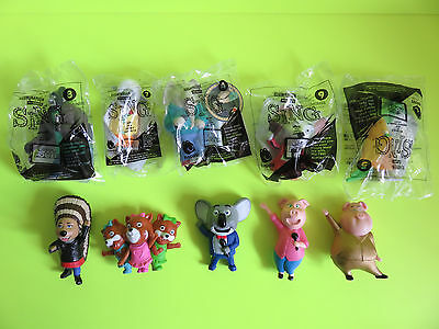 McDonald's SING Toys MIKE, THE-Q-TEEZ, JOHNNY - OPEN, MISS CRAWLY, MEENA - NEW!