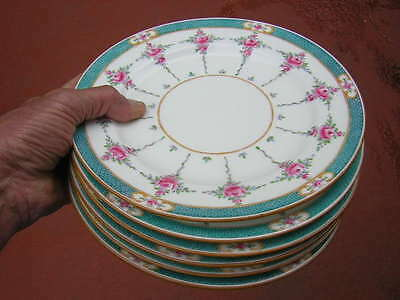 """england MINTON'S 6 X 9"""" PERSIAN (PINK) ROSE ACCENT PLATES antique PATENT 579755"""
