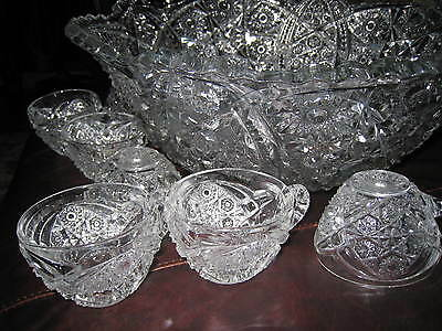 """American Victorian Cut Crystal Large Punch Bowl with 8 cups 16 1/4"""""""