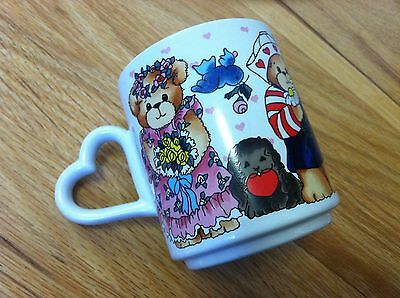 LUCY and ME RIGG COFFEE MILK HOT CHOCOLATE MUG CUP VINTAGE 1985 VALENTINE HEARTS