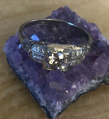 Antique Art Deco 18K White Gold and Diamonds RING  Size 7.5