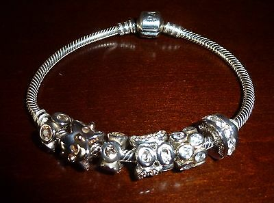 Pandora Sterling Silver Barrel Clasp Bracelet with 6 Charms