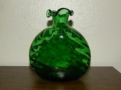 Emerald  Green Blown Glass Vase Decanter Ruffled Top, Swirl Design and Bubbles