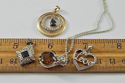 Four Various 925 Sterling Silver Pendants Including Topaz & Garnet with Necklace
