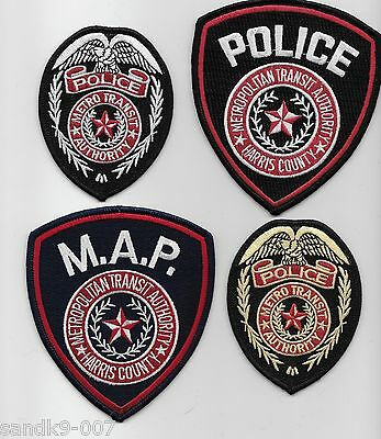 Set of 4 Harris County Railroad Railway Police State Texas TX Trans patches