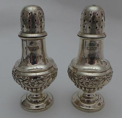 Pair Geo1st Style Sterling Silver SALT & PEPPER pots full Hallmarks1901 4 inches