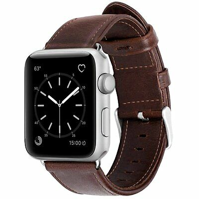 For Apple Watch Series 1 and 2 Loop Genuine Leather Bracelet Strap Band 42MM