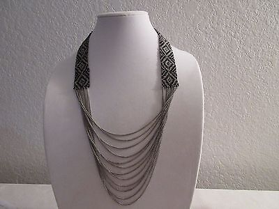 Vintage Absolute Stunning 10 Strand Silver Plated Turquoise Necklace