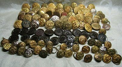 WWII Army Buttons Huge Group Lot Of 98