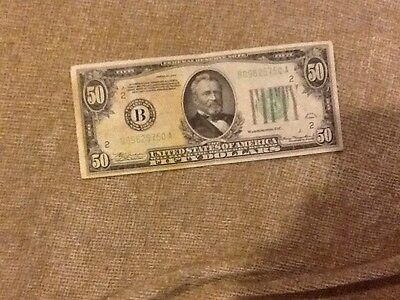Series of 1934 U.S. $50 Fifty Dollar Federal Reserve Note Bill BANK OF NEW YORK