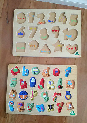 """Kids Wooden Peg Puzzles, Educational Toy - alphabets AND numbers - """"ELC"""" Brand"""