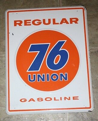 "UNION 76 Regular 14"" x 18""  original porcelain gasoline pump porcelain sign"