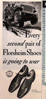 1945 Florsheim Shoe Ad - Retro Vintage Advertising Page - WWII Era - 1940s 40s
