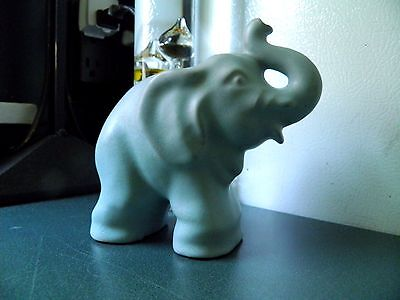 Vintage Rosemeade Art Pottery Trunk Up Elephant Figurine