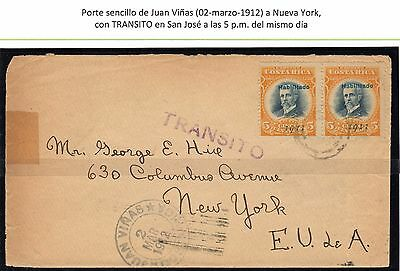 Costa Rica 1911 5cts pair in cover from JUAN VIÑAS with SAN JOSE transit to USA