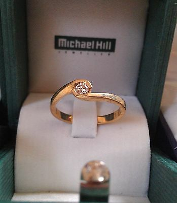 Solitaire Diamond Ring .15 carat 9ct Yellow gold  ~ As new.