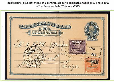 Costa Rica 2cts Columbus uprated postcard with 1&5cts surcharges to SWITZERLAND