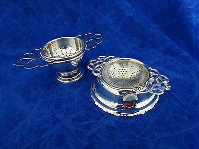 Two Vintage Silver Plated Tea Strainers With Holders Epns
