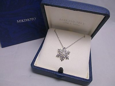 "Mikimoto Akoya Pearl Sterling Silver Pendant Necklace ""Snowflake""  Authentic!"