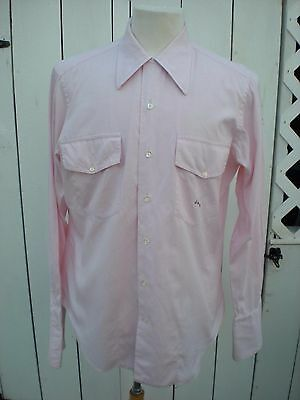 Vintage 80's Nat Wise Hollywood Pink Cotton Loop Collar Dress Shirt Medium M
