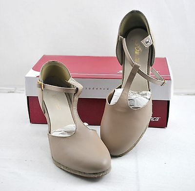"New So Danca CH57 Tan TStrap Character Shoes Suede Sole 2.5"" Heel US 7.5L 1143"