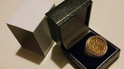 22ct Gold Half Sovereign Coin 1907 Edward VII in 9ct Gold Ring Mount Ring S.1/2*