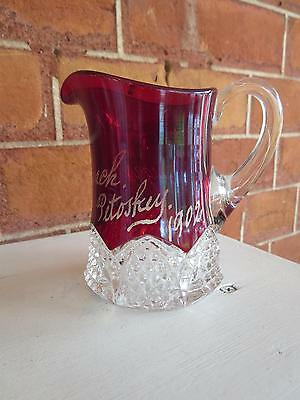 EAPG Ruby Flashed Creamer Button Arches 1902 Petoskey Mich  Pattern Glass
