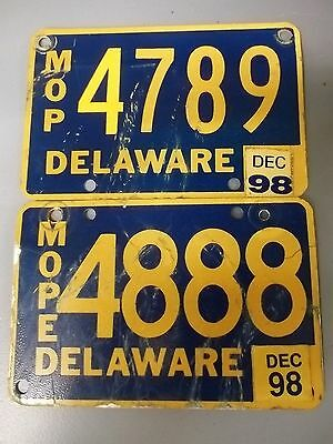 DELAWARE MOPED license plate lot of 2