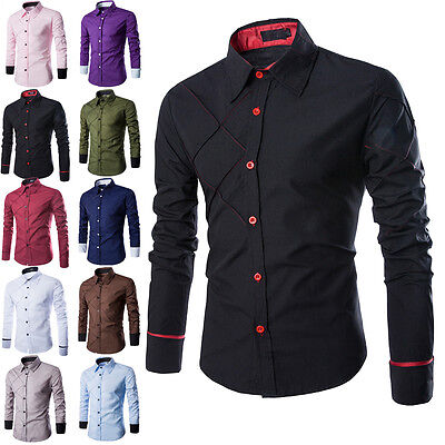 2017 Mens Luxury Stylish Casual Dress Slim Fit T-Shirts Casual Long Sleeve