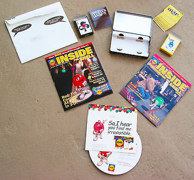 Vintage M&M  Metal Box w/ Playing Cards & Insider Magazines with Posters